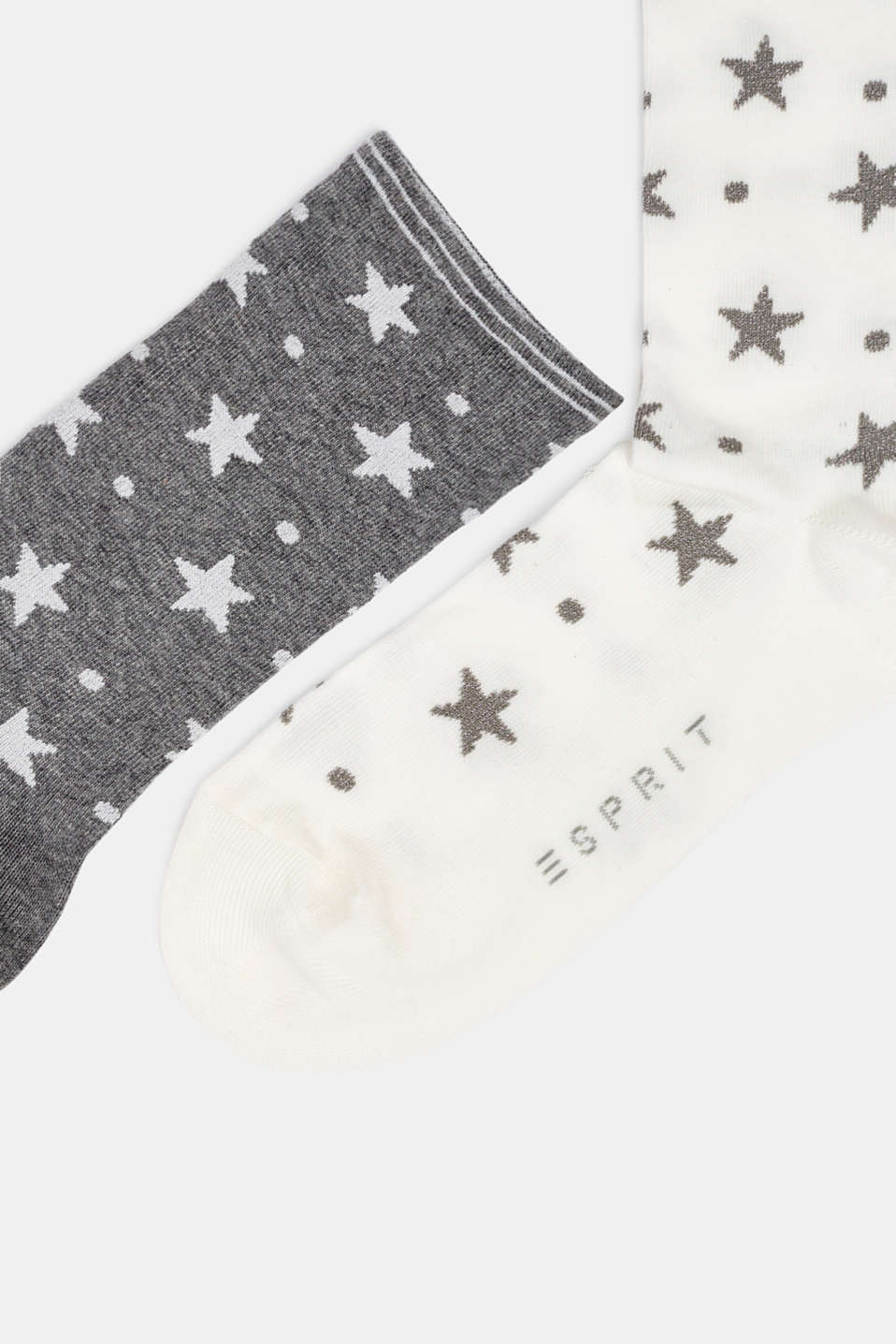 2-pack of socks with glitter accents, WHITE/GREY, detail image number 1