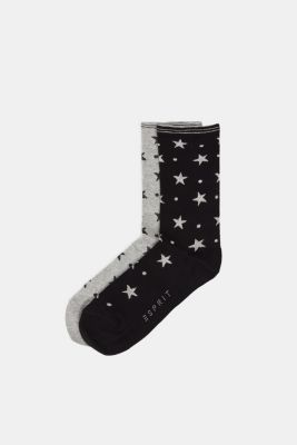 2-pack of socks with glitter accents, BLACK/GREY, detail