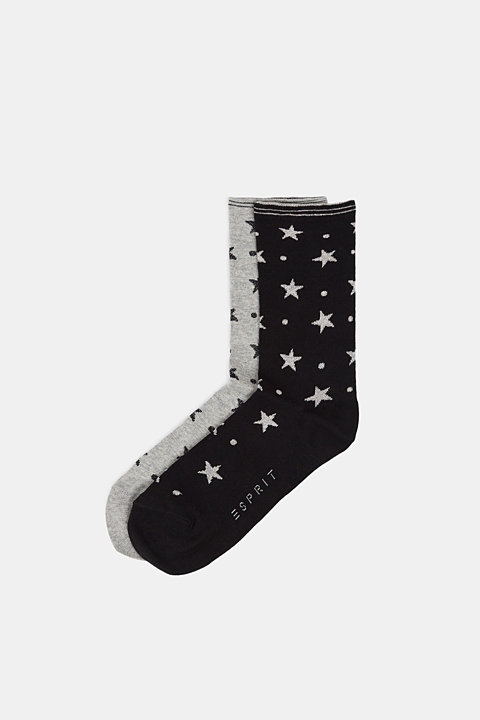 2-pack of socks with glitter accents