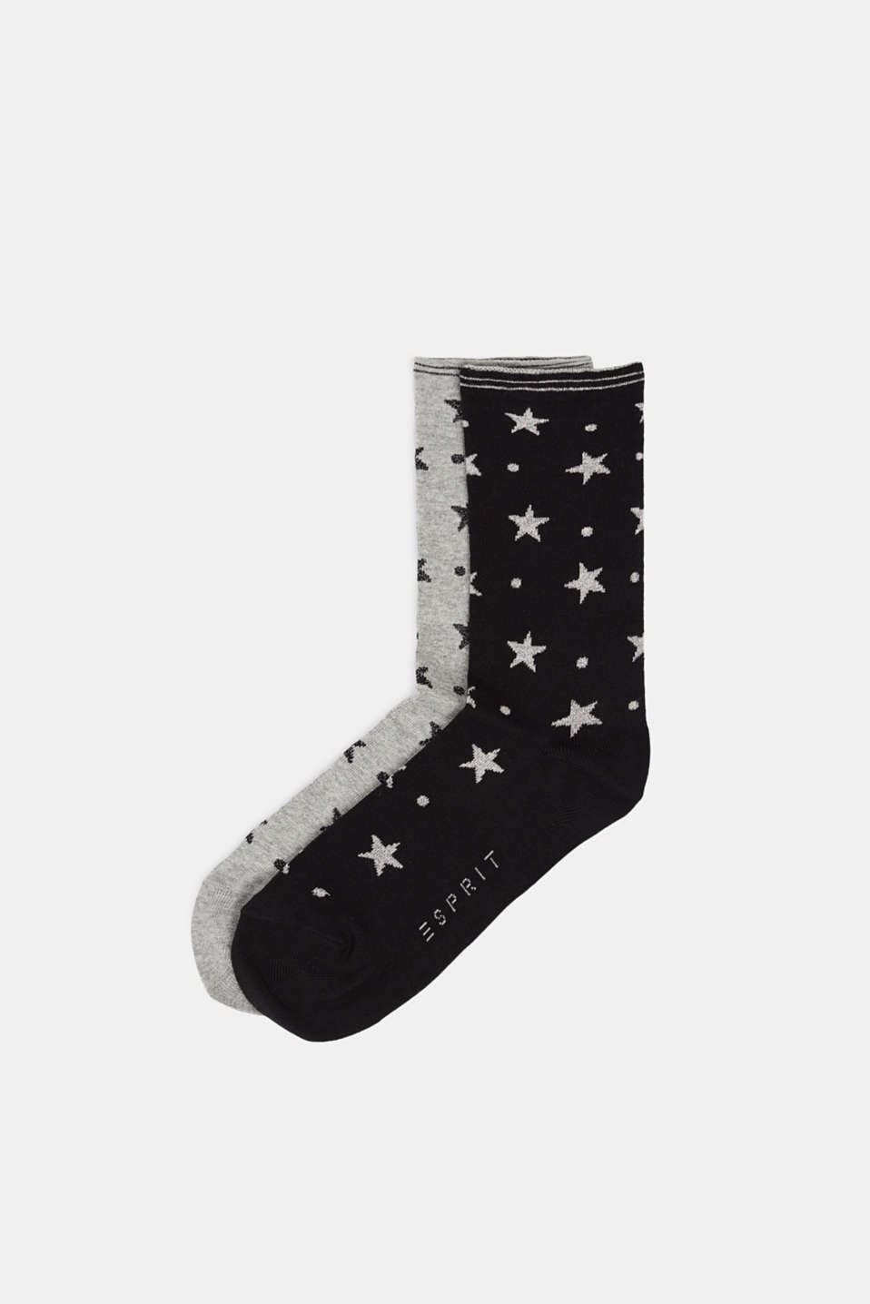 2-pack of socks with glitter accents, BLACK/GREY, detail image number 0