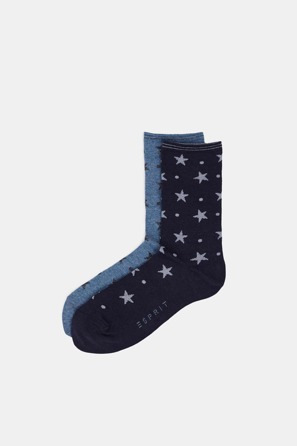 2-pack of socks with glitter accents, NAVY/MEDIUM BLUE, detail image number 0
