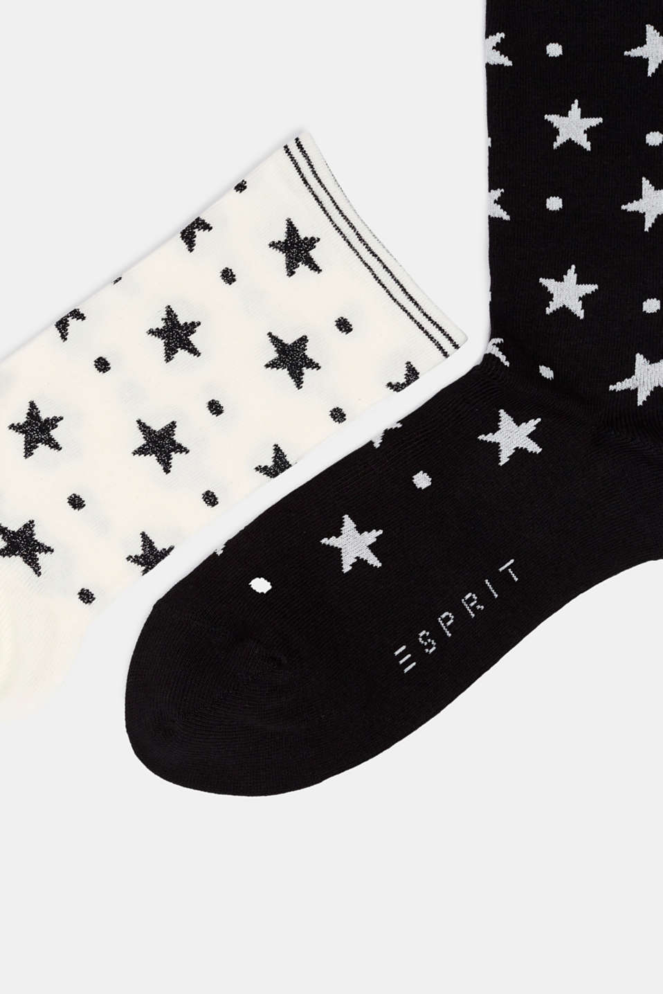 2-pack of socks with glitter accents, BLACK/WHITE, detail image number 1