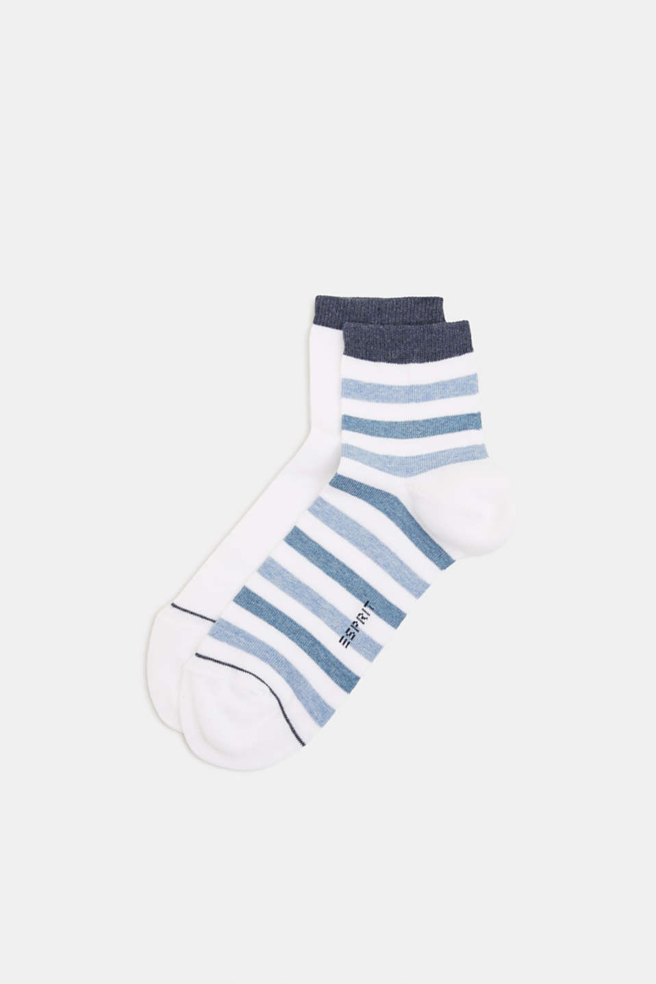Double pack: socks with stripes and contrasting details, WHITE, detail image number 0