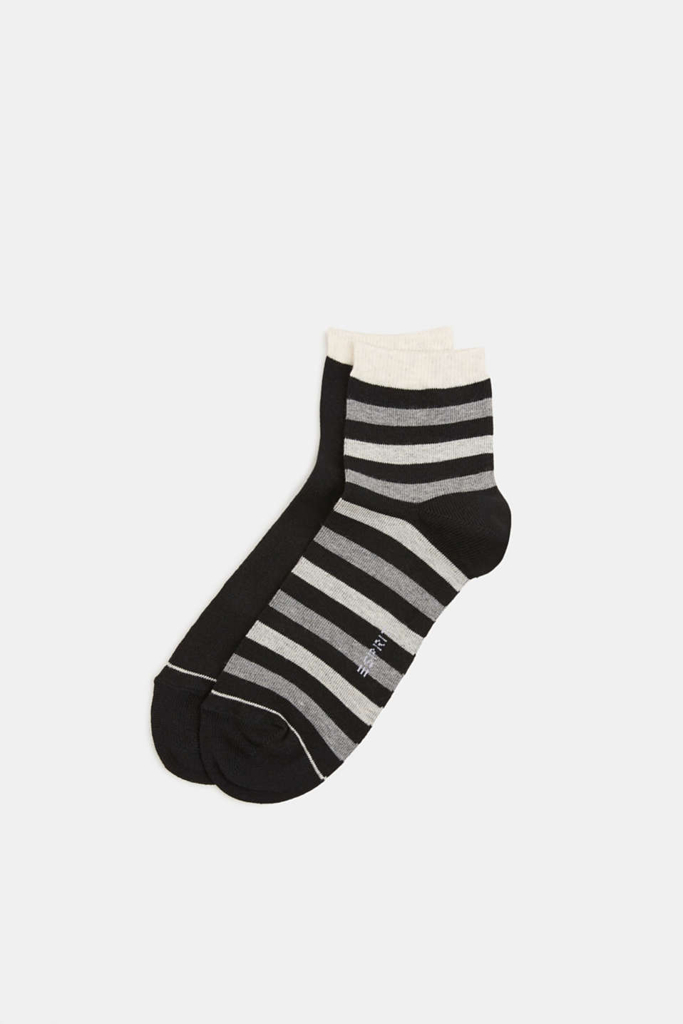 Double pack: socks with stripes and contrasting details, BLACK, detail image number 0