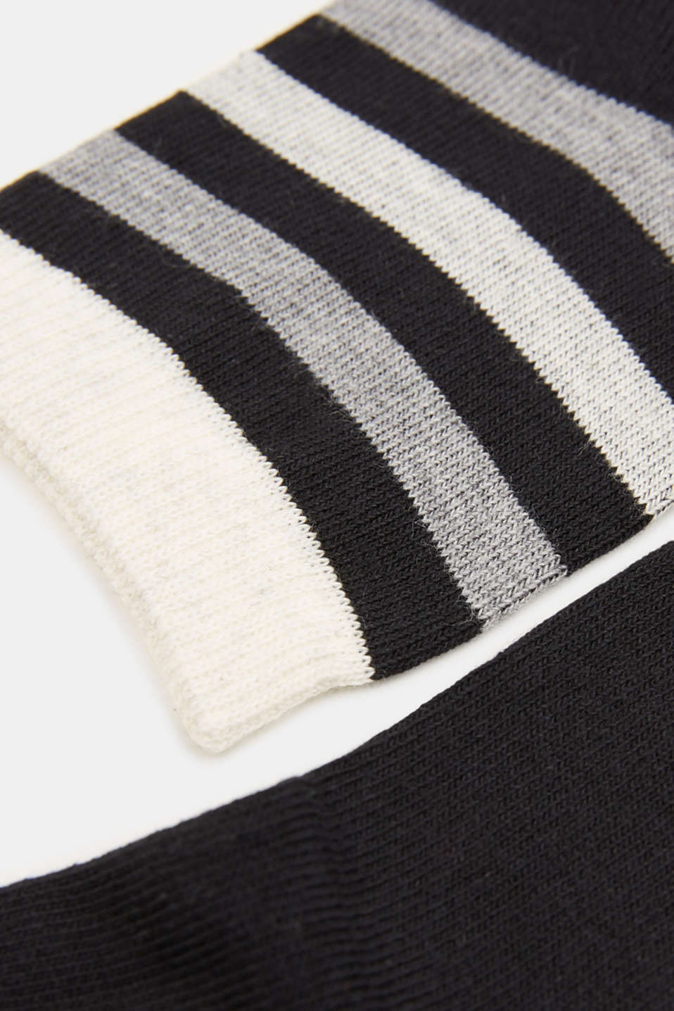 Double pack: socks with stripes and contrasting details, BLACK, detail image number 1