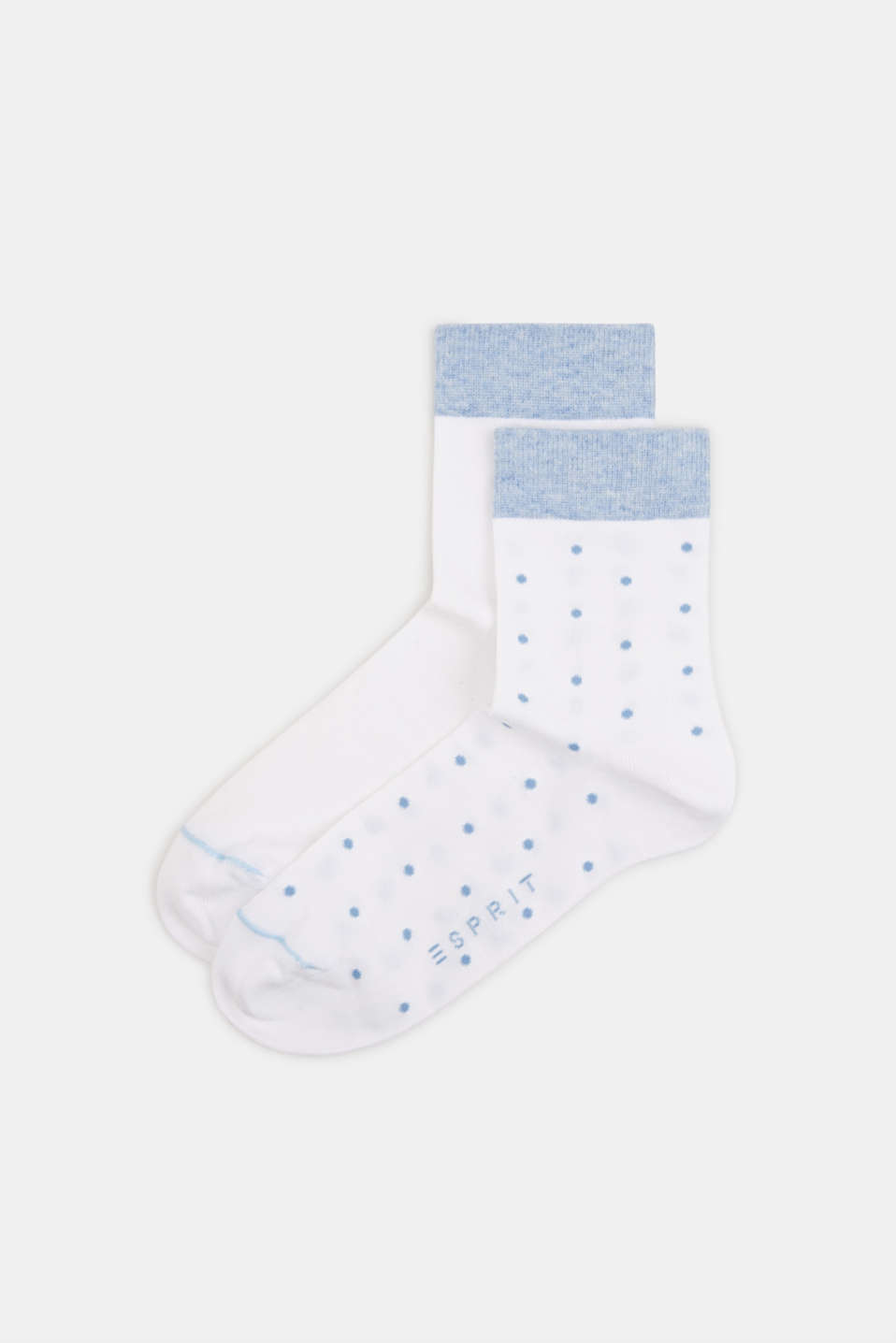 Double pack of socks with polka dots and in a two-tone look, WHITE, detail image number 0