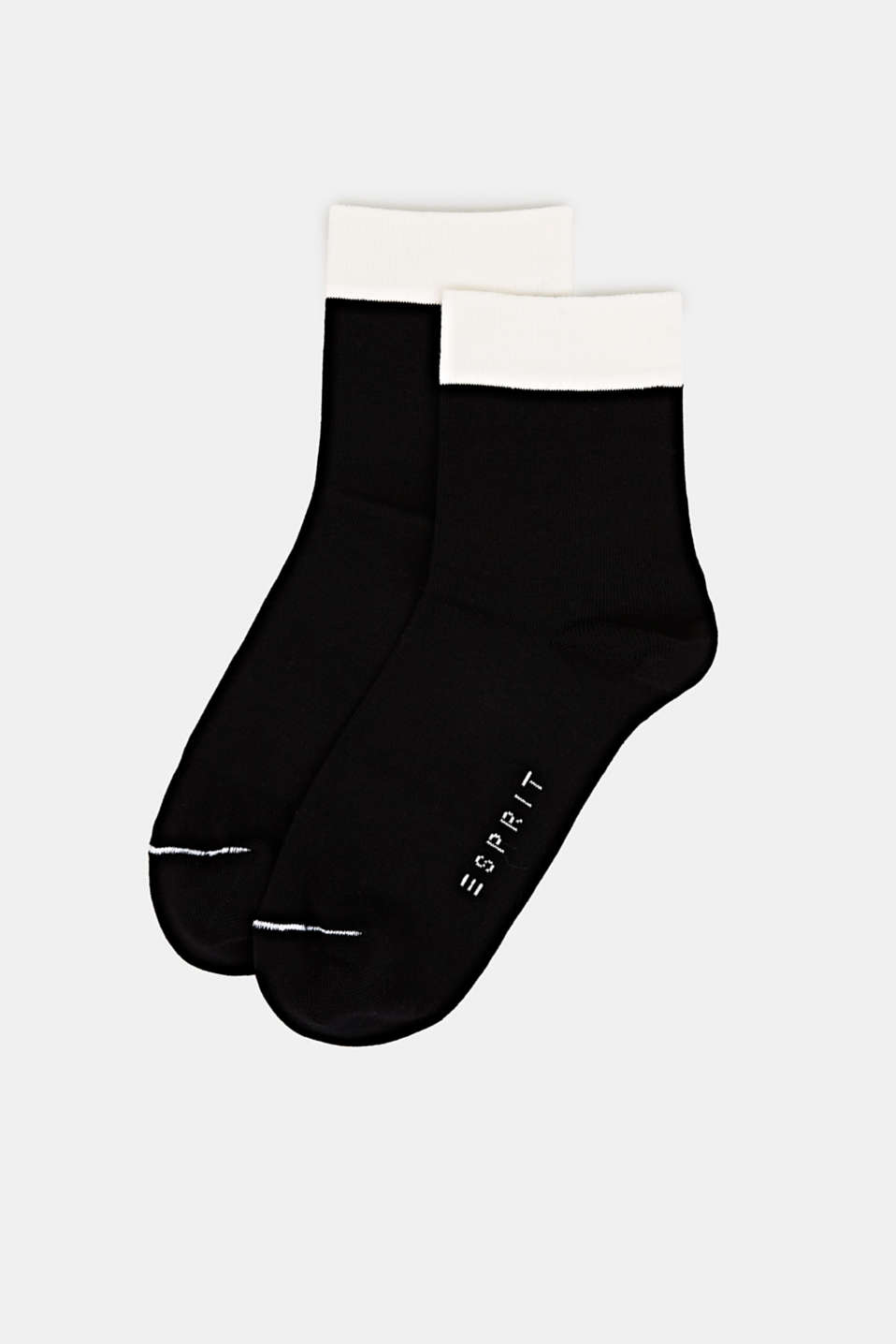 Double pack of socks with polka dots and in a two-tone look, BLACK, detail image number 2