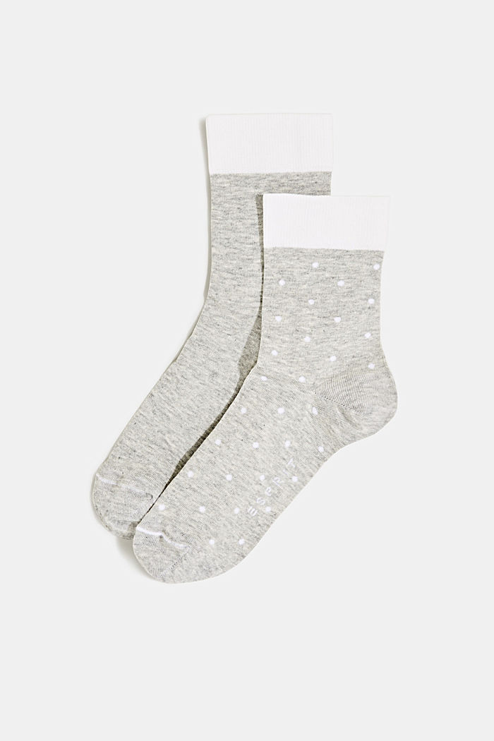 Double pack of socks with polka dots and in a two-tone look, LIGHT GREY, detail image number 0