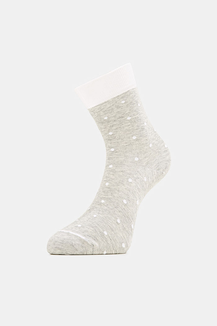 Double pack of socks with polka dots and in a two-tone look, LIGHT GREY, detail image number 2