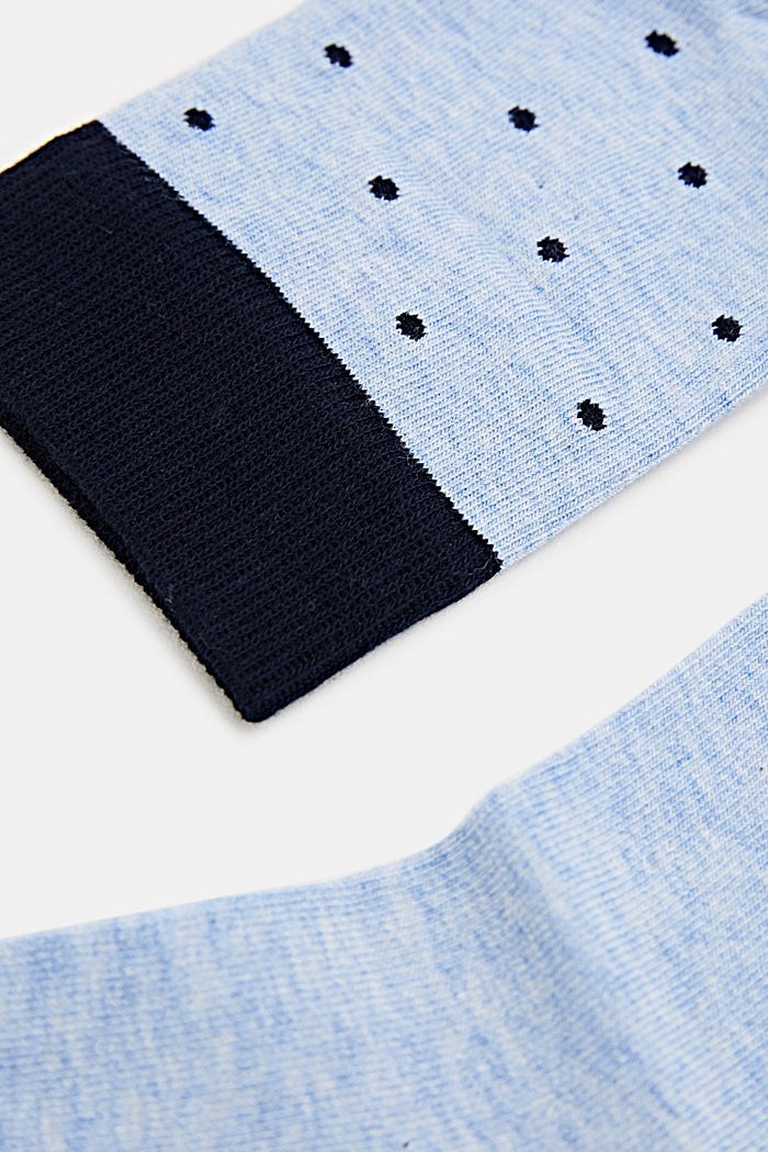 Double pack of socks with polka dots and in a two-tone look, LIGHT DENIM, detail image number 1