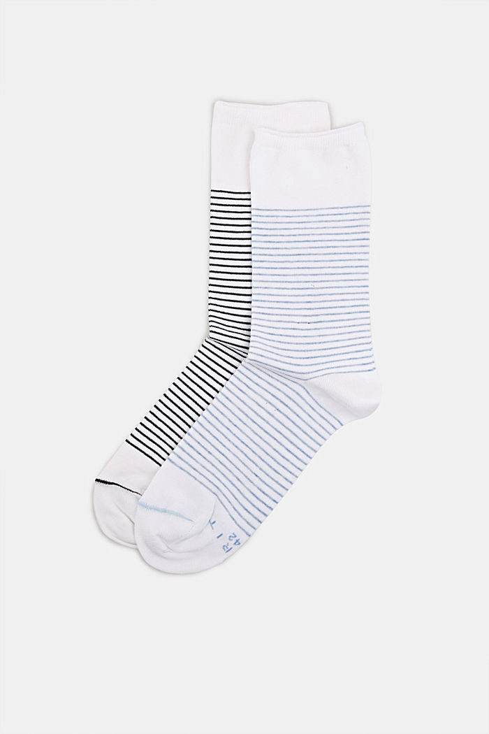 Double pack of socks with a striped look, WHITE, detail image number 0