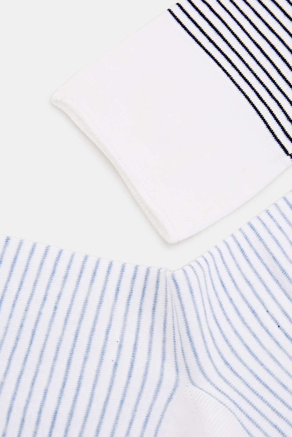 Double pack of socks with a striped look, WHITE, detail image number 1
