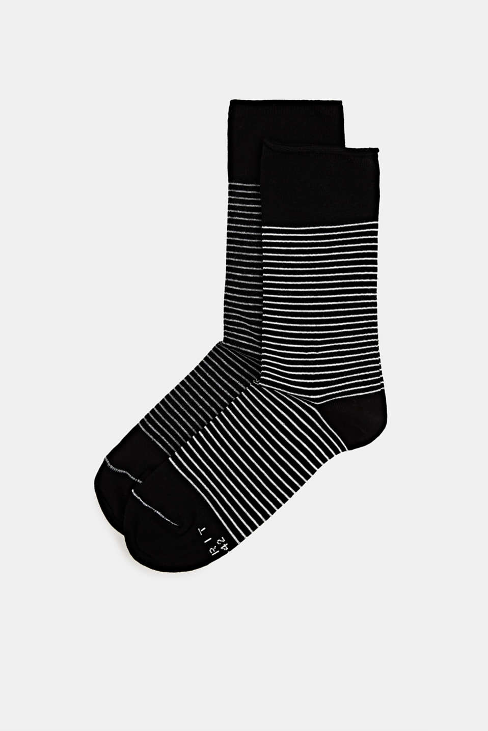 Double pack of socks with a striped look, BLACK, detail image number 0
