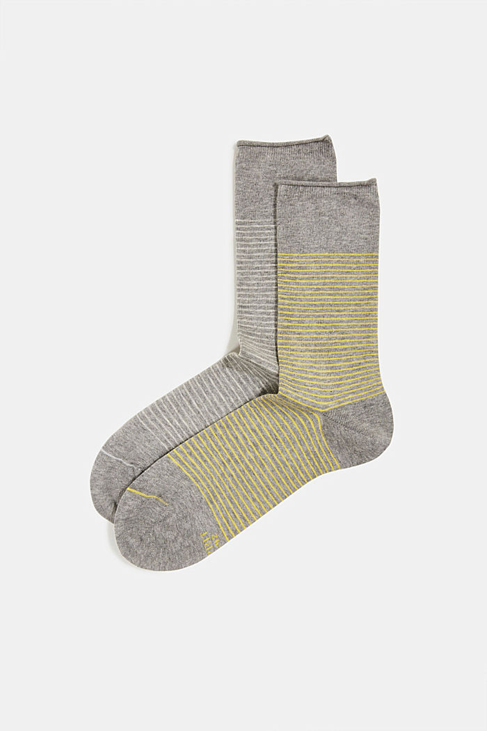 Double pack of socks with a striped look, LIGHT GREY MELANGE, detail image number 0
