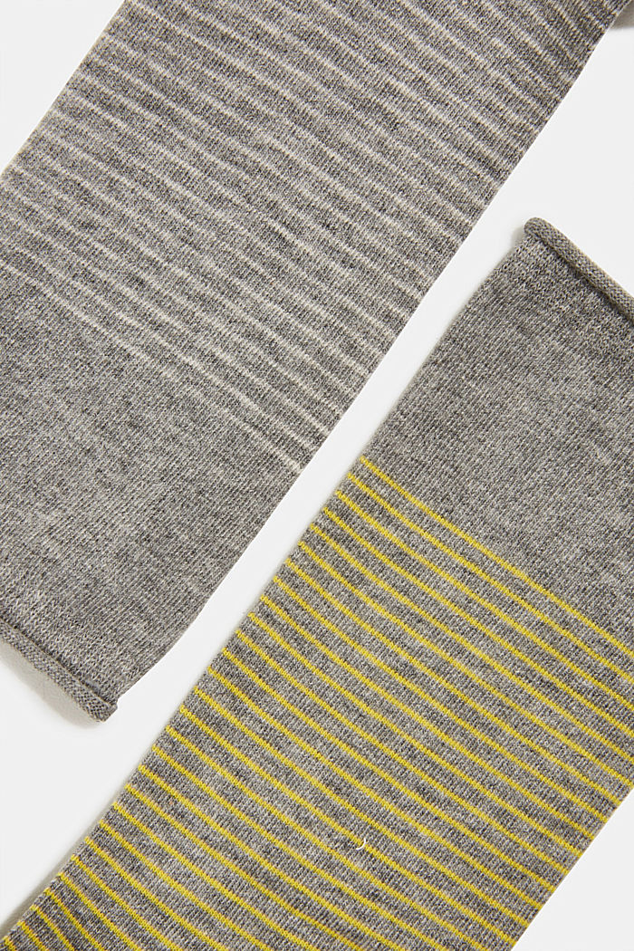 Double pack of socks with a striped look, LIGHT GREY MELANGE, detail image number 1
