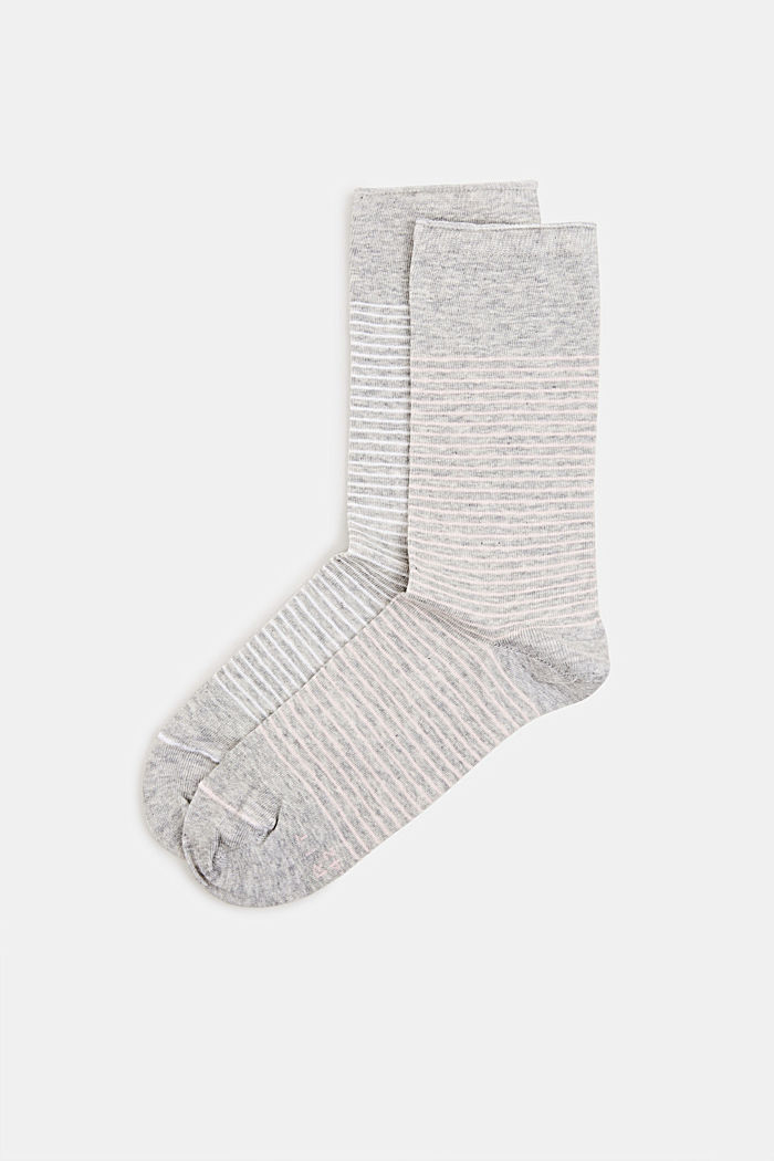Double pack of socks with a striped look, LIGHT GREY, detail image number 0