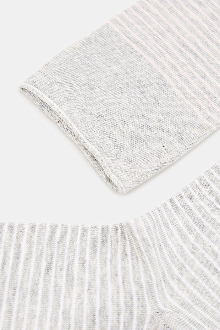 Double pack of socks with a striped look, LIGHT GREY, detail image number 1