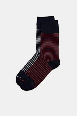 Double pack of socks with a striped look, MARINE, detail