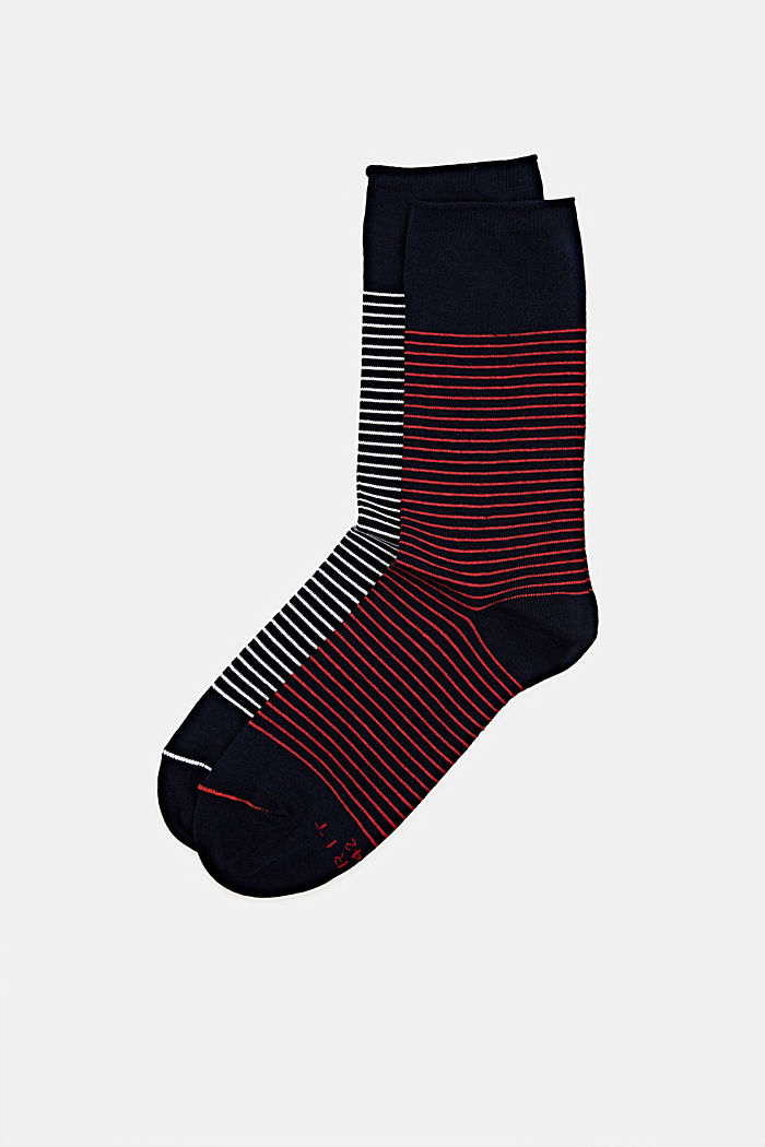 Double pack of socks with a striped look, MARINE, detail image number 0