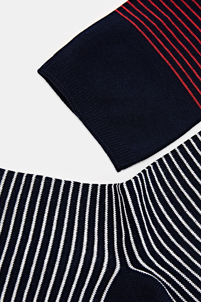 Double pack of socks with a striped look, MARINE, detail image number 1