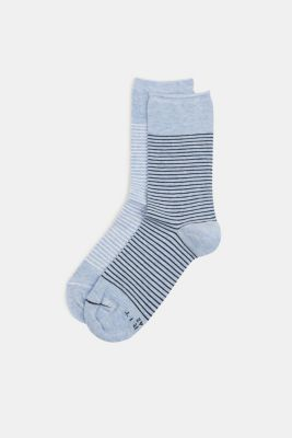 Double pack of socks with a striped look, LIGHT DENIM, detail