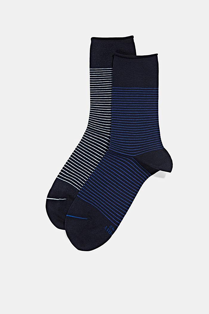 2er-Pack Socken im Streifen-Look, MARINE, detail image number 0