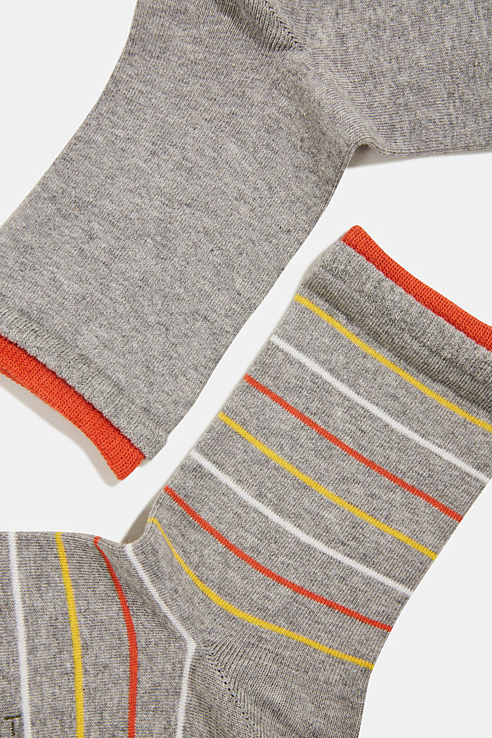 Double pack of socks with stripes, LIGHT GREY, detail image number 1