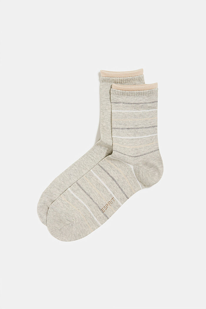 Double pack of socks with stripes, STORM GREY, detail image number 0