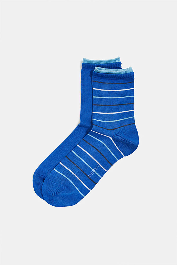 Double pack of socks with stripes, COBALT, detail image number 0