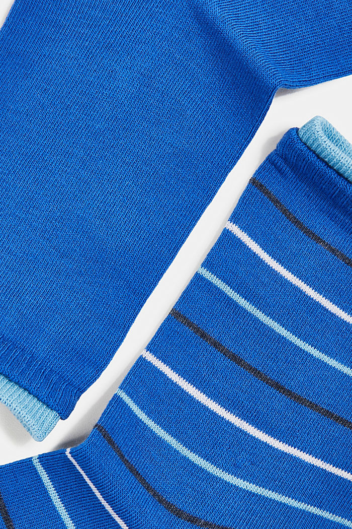 Double pack of socks with stripes, COBALT, detail image number 1