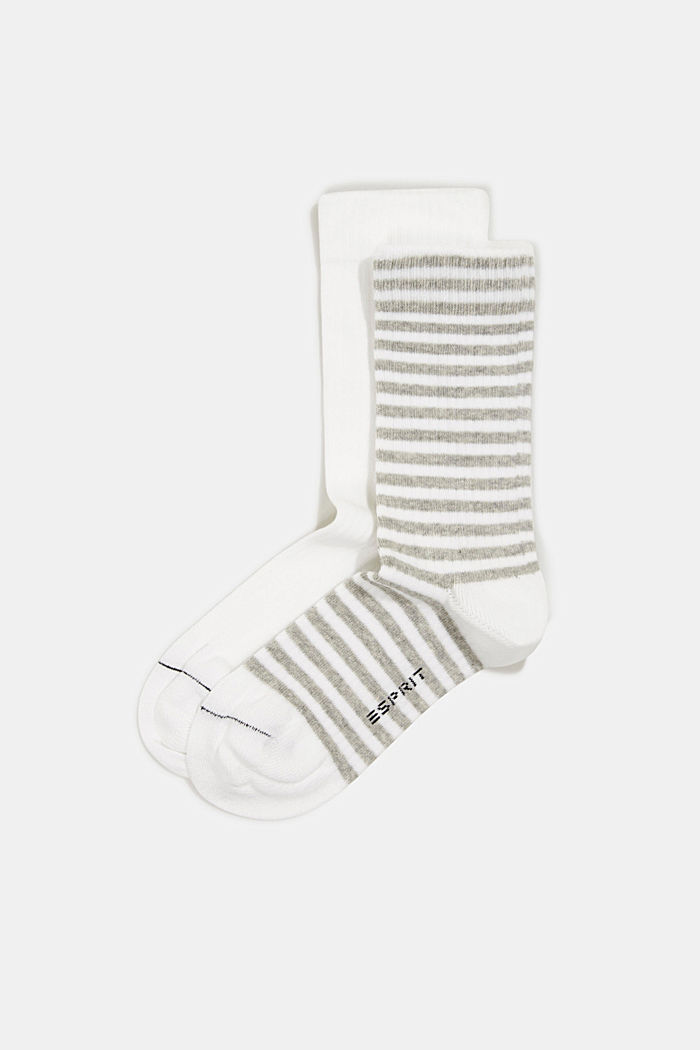 Double pack of blended cotton socks, WHITE, detail image number 0