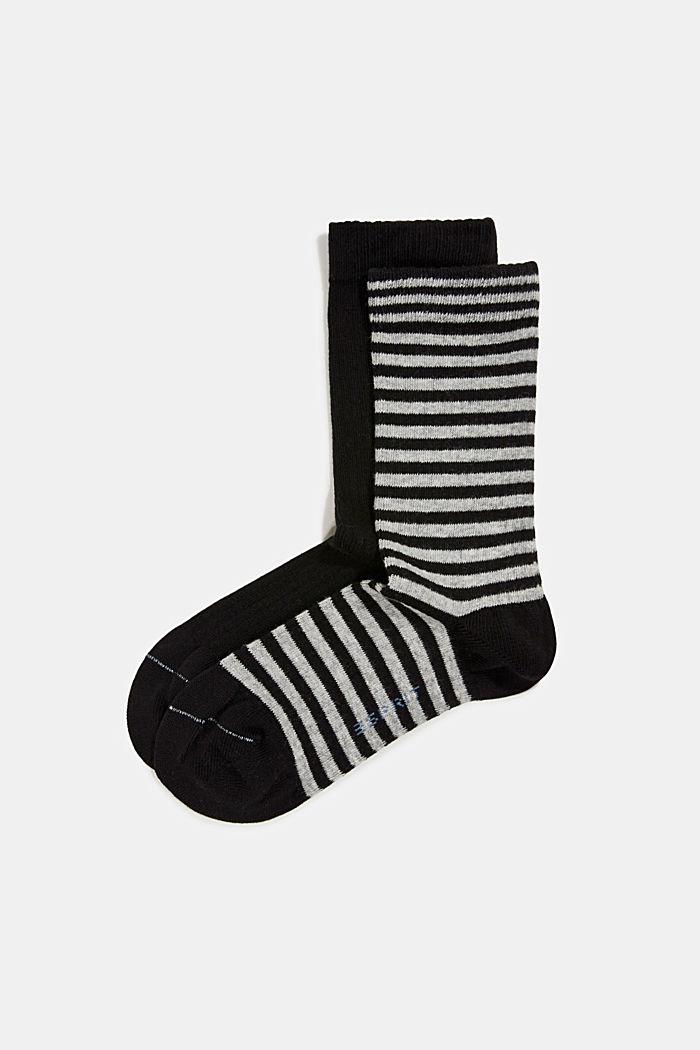 Double pack of blended cotton socks, BLACK, detail image number 0