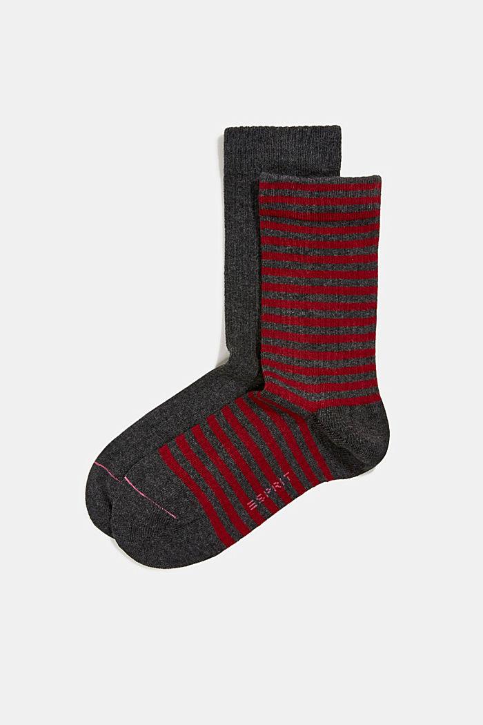 Double pack of blended cotton socks, ANTHRACITE MELANGE, detail image number 0