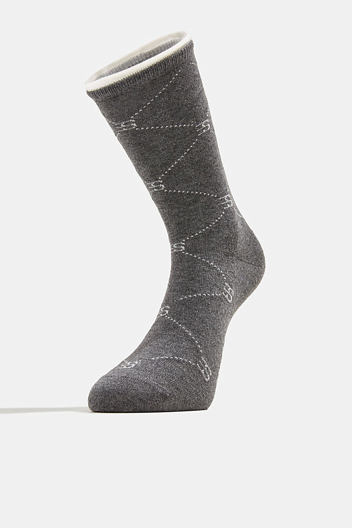 Wool blend: Socks with monogram, DARK GREY, detail image number 1