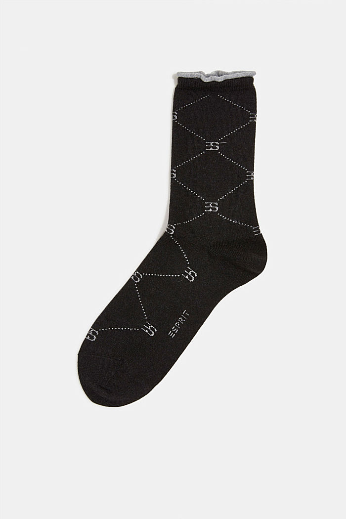 Wool blend: Socks with monogram, ANTHRACITE, overview