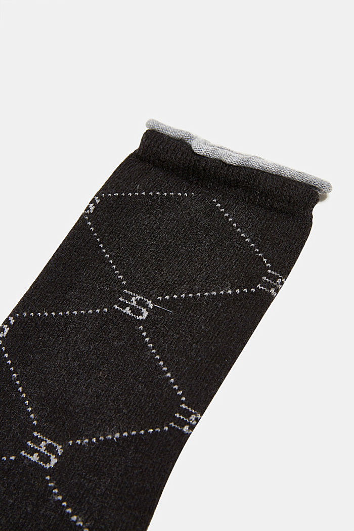 Wool blend: Socks with monogram, ANTHRACITE, detail image number 2