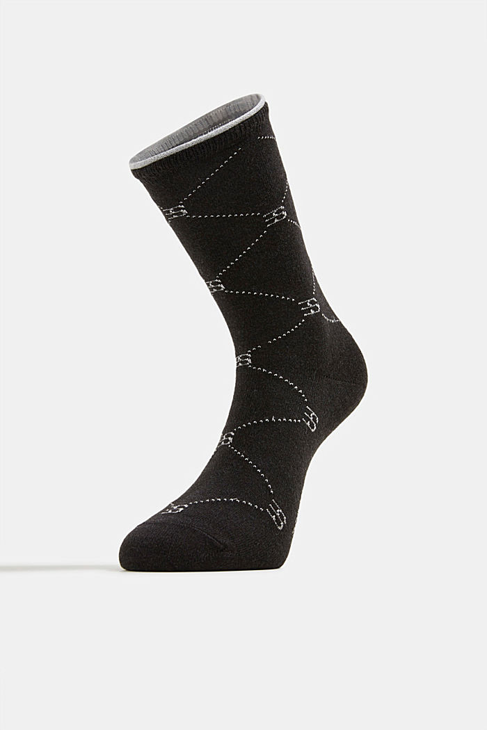 Wool blend: Socks with monogram, ANTHRACITE, detail image number 1