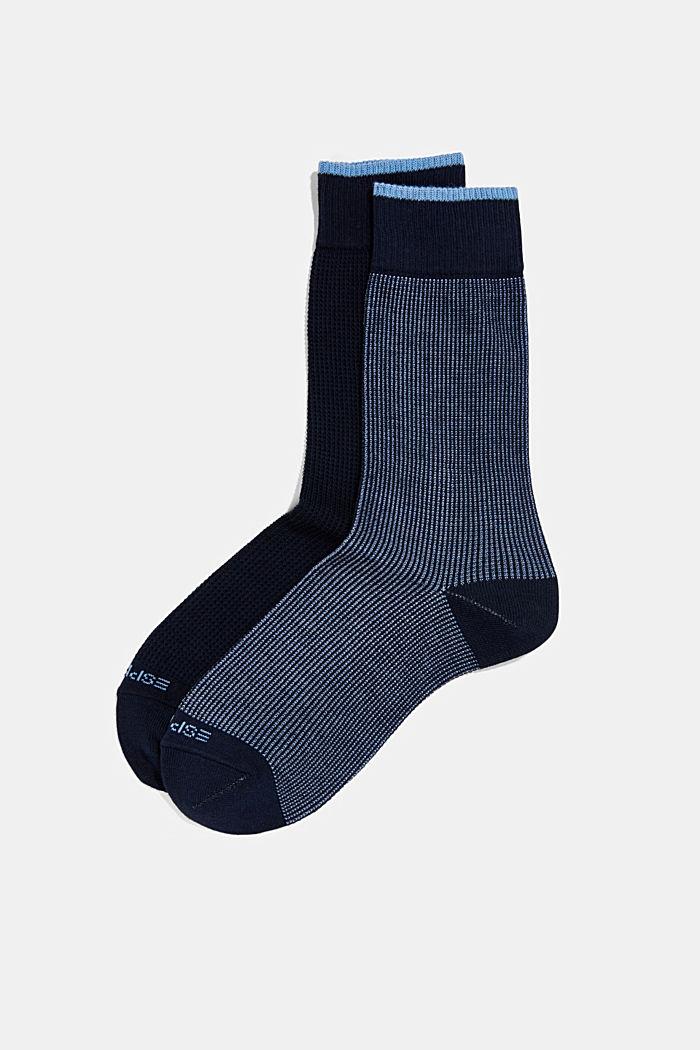 2er-Pack Piqué Socken aus Baumwoll-Mix, MARINE, detail image number 0