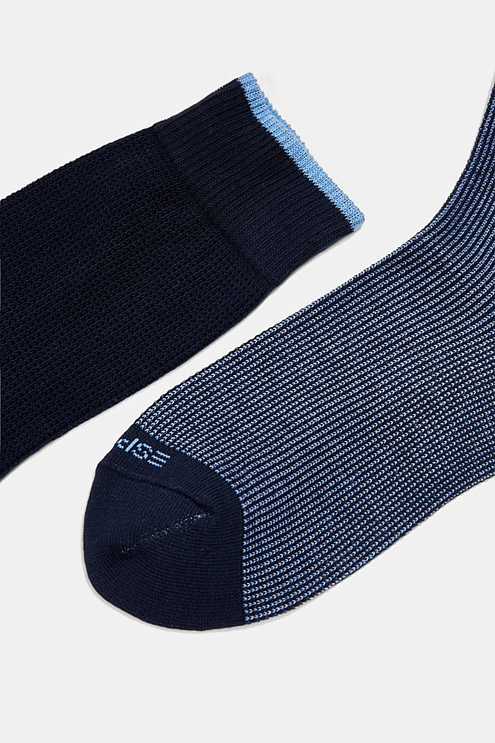 2er-Pack Piqué Socken aus Baumwoll-Mix, MARINE, detail image number 1