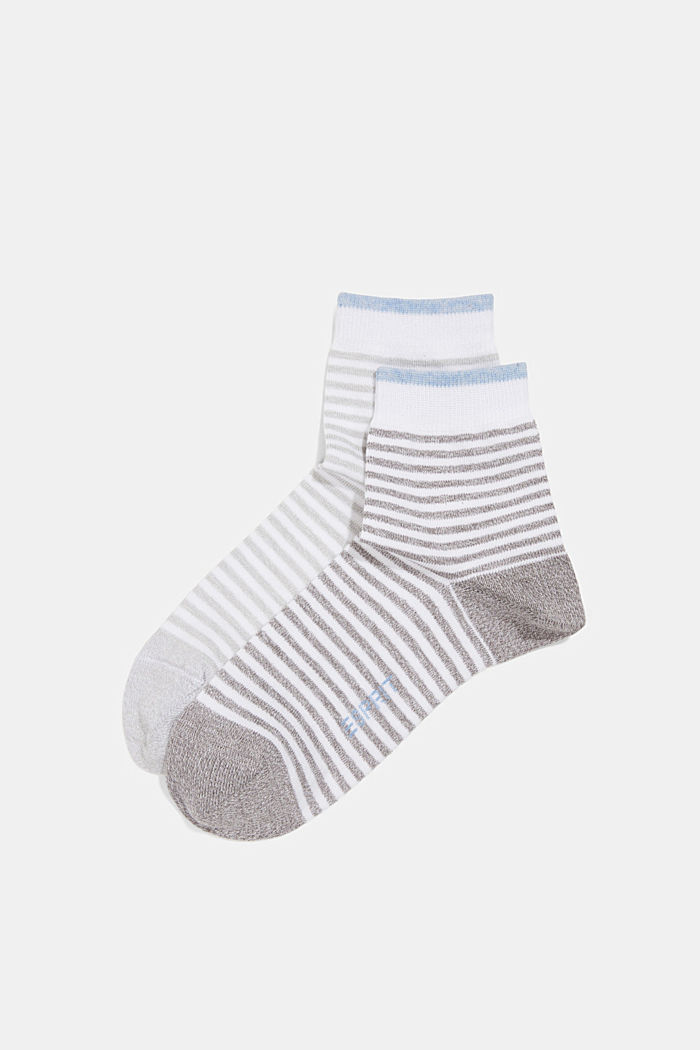 2er-Pack Ringel-Socken mit Organic Cotton, GREY, overview