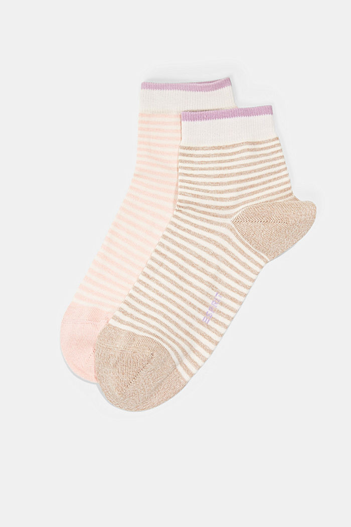 2er-Pack Ringel-Socken mit Organic Cotton, ROSE/BEIGE, detail image number 0
