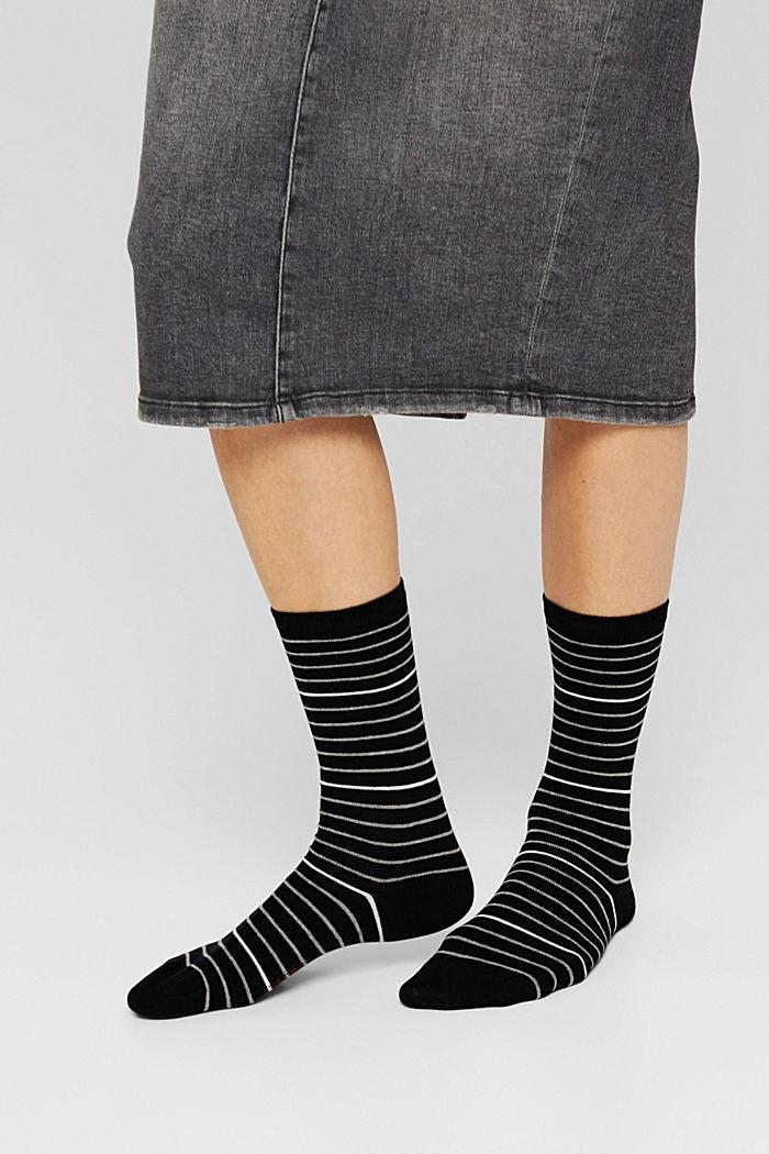 Pakke med 2 par sokker, økologisk bomuldsblanding, BLACK, detail image number 2