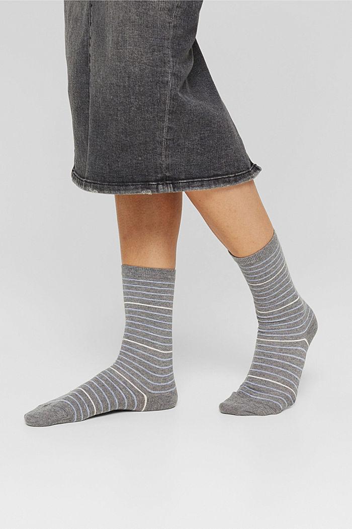 Double pack of socks made of blended organic cotton, LIGHT GREY MELANGE, detail image number 2