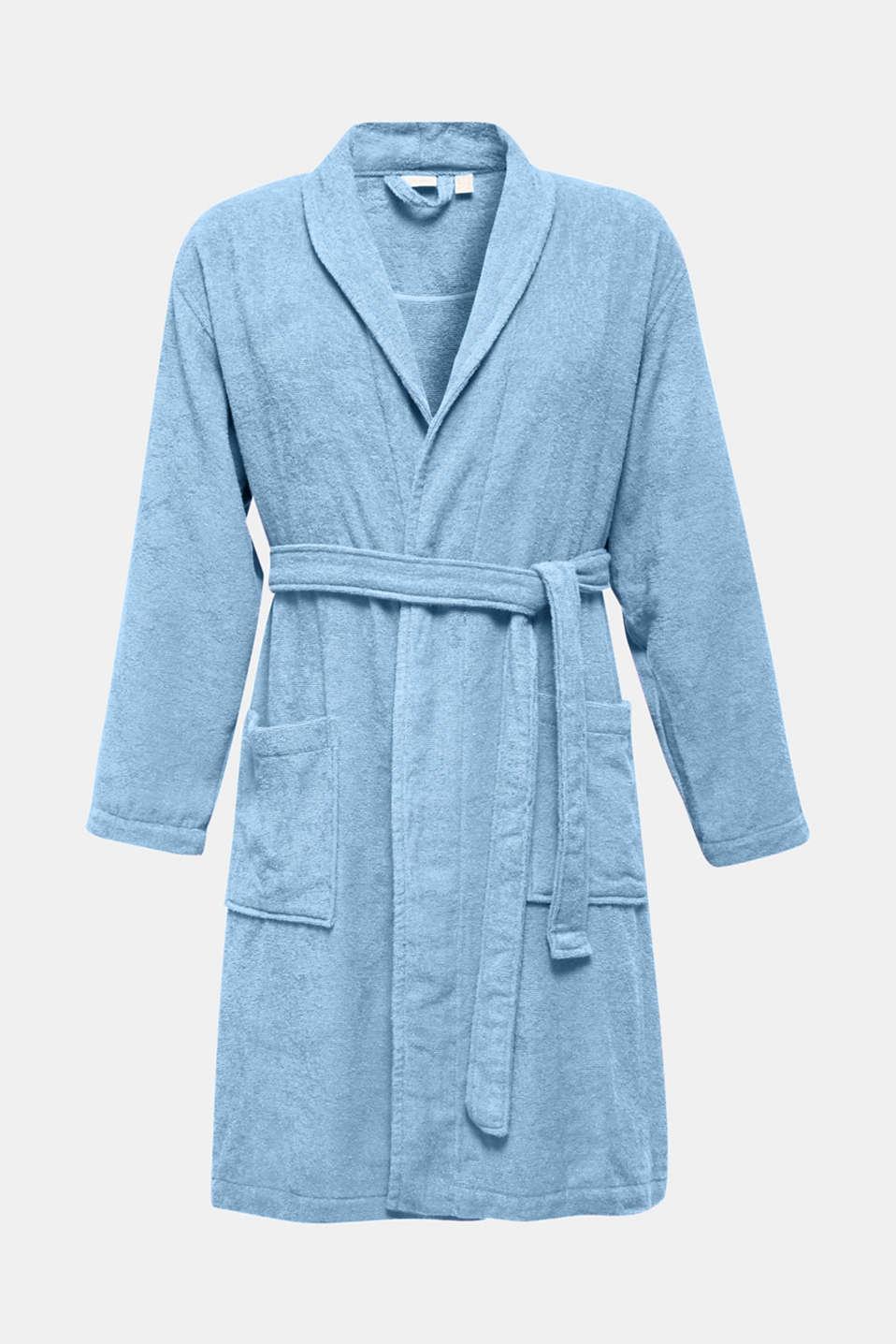 Unisex bathrobe made of 100% cotton, SKY BLUE, detail image number 4
