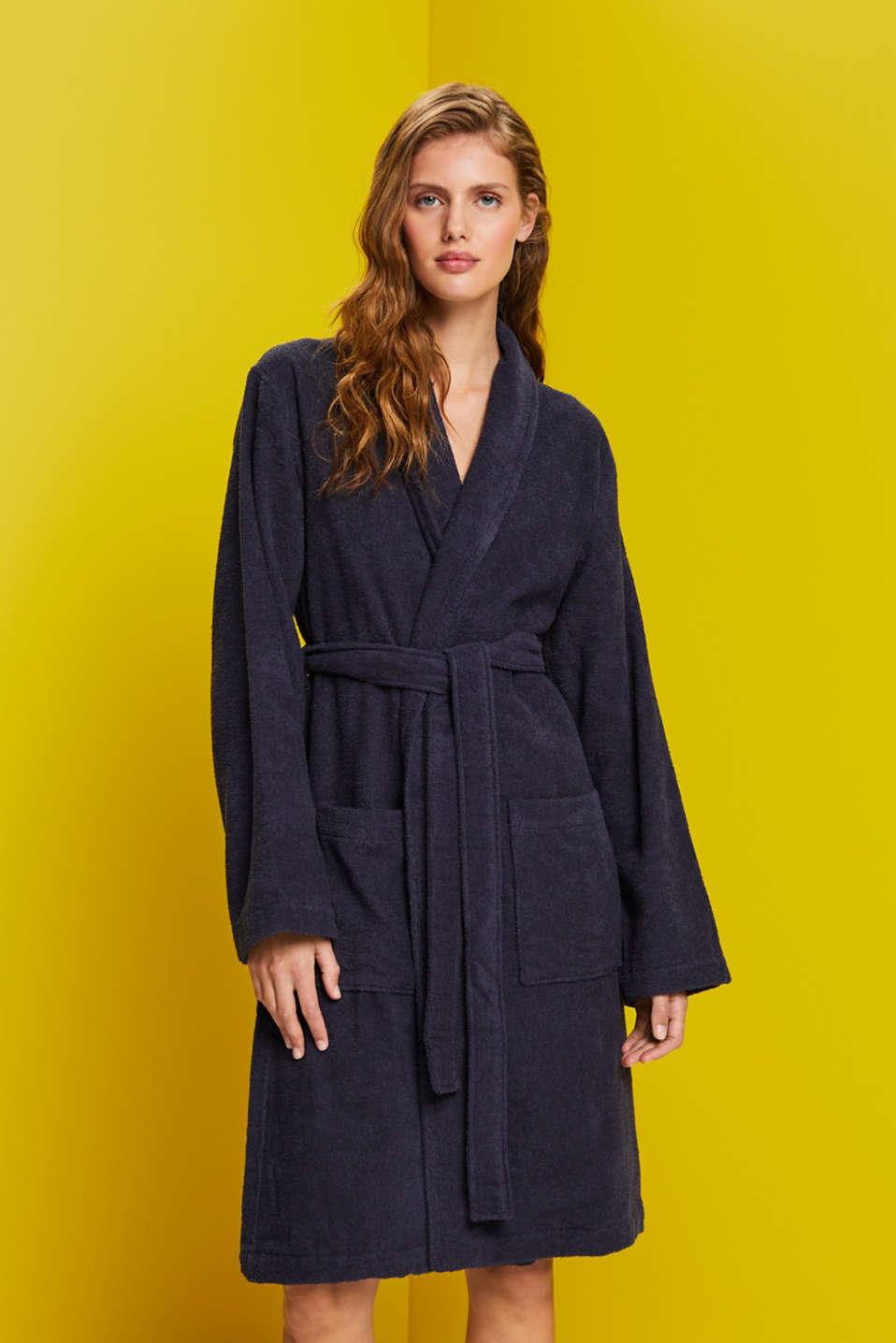 Unisex swimsuit, 100% cotton, NAVY BLUE, detail image number 1