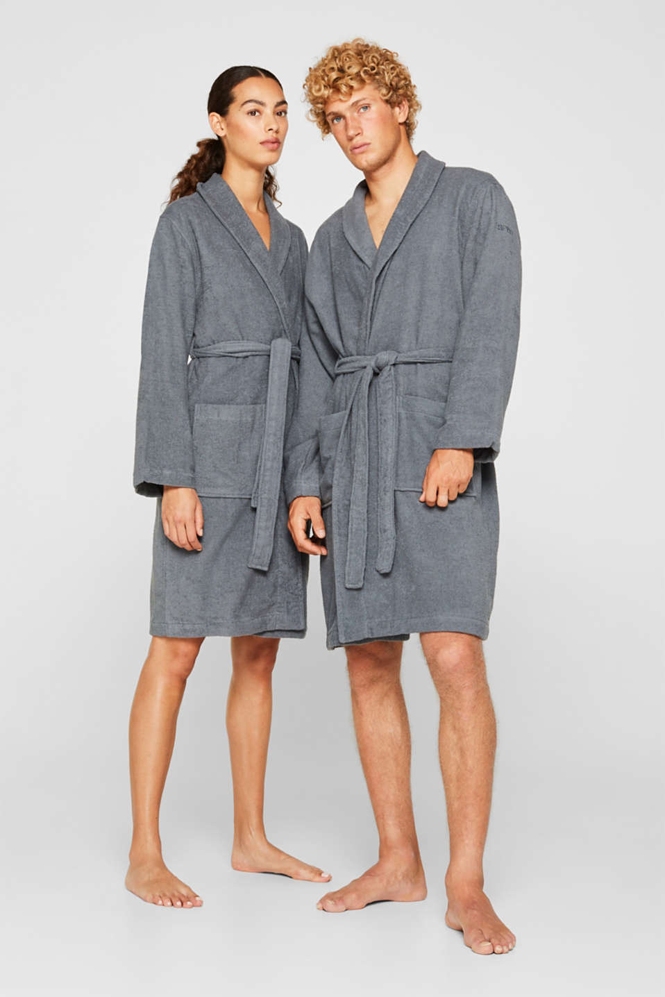 Unisex bathrobe made of 100% cotton, GREY STEEL, detail image number 0