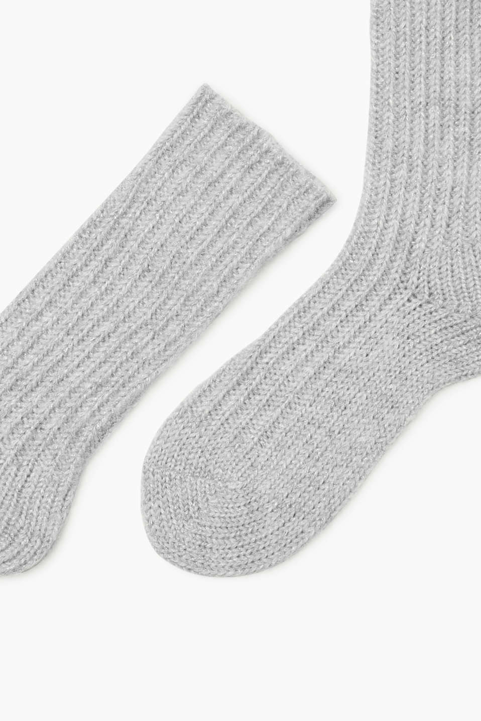 Thick glittery socks with mohair and wool