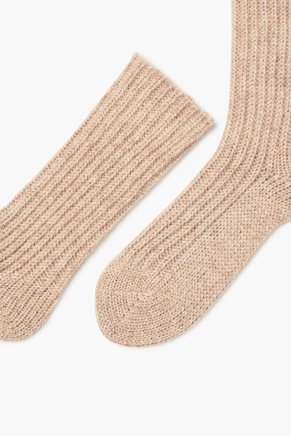 Thick glittery socks with mohair and wool, CREAM, detail image number 1