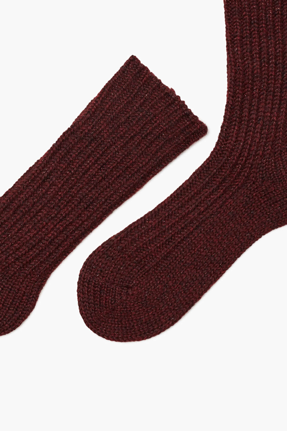 Thick glittery socks with mohair and wool, BURGUND, detail image number 1