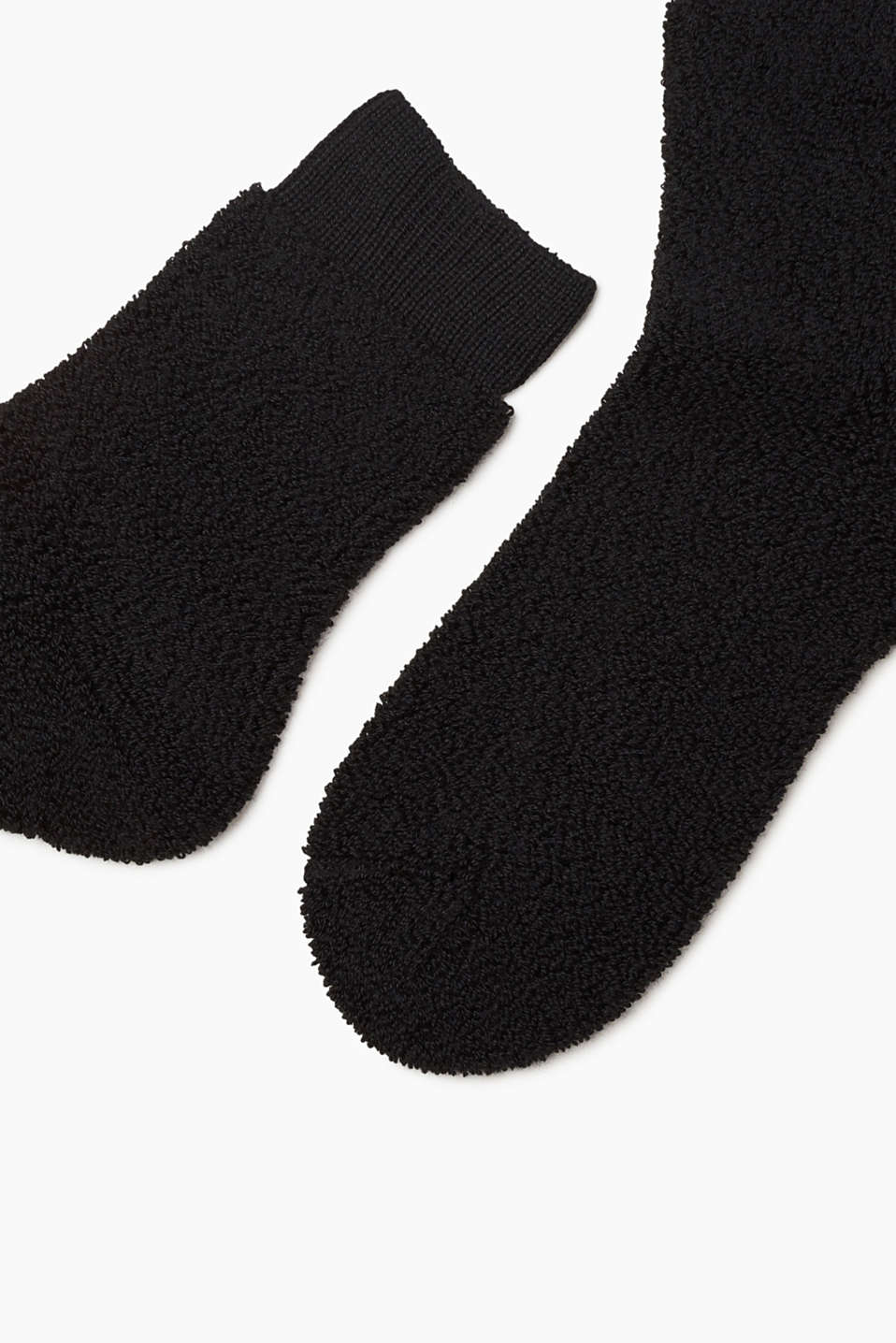 With wool: terrycloth socks with a soft texture, BLACK, detail image number 1